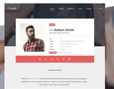 Minimalistic Web Design by Best Free Resume Templates In Psd And Ai In 2017 Colorlib