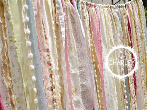 shabby chic boho rustic fabric garland backdrop ribbon