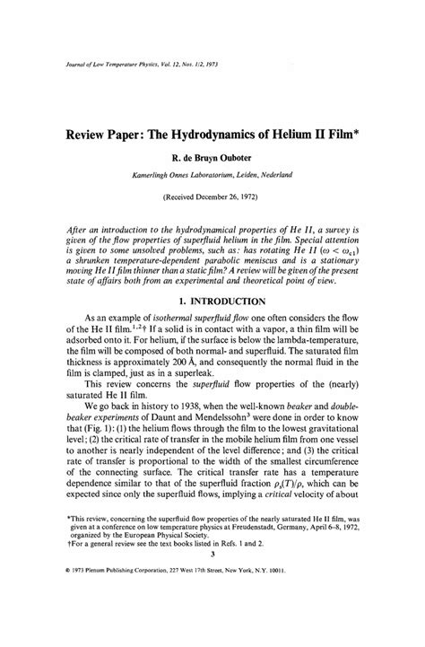 newspaper article review template review paper the hydrodynamics of helium ii springer