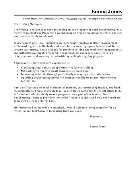 Tax Preparer Cover Letter best tax preparer cover letter exles livecareer