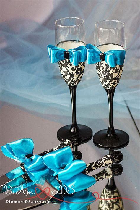 damask wedding set wedding cake server and knife chagne flutes turquoise black and white