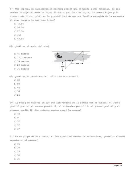 preguntas de habilidad matematica comipems compilaci 243 n de reactivos para examen simulaci 243 n tipo exani