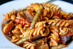 fall vegetable pasta with zucchini eggplant green beans