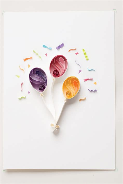 birthday balloons extract  quilling art  sena runa     quilled  card
