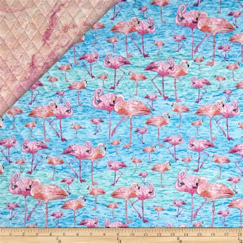 Flamingo Quilt Fabric by Birds Of A Feather Sided Quilted Flamingos Pink
