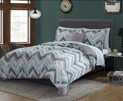 geometric bedding green grey white chevron geometric 8 piece comforter