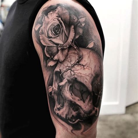 half skull half rose tattoo 46 cool half sleeve tattoos