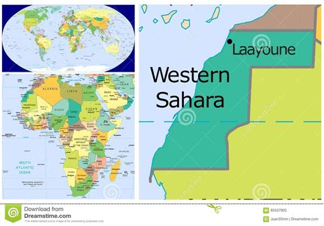 western sahara world stock illustration illustration