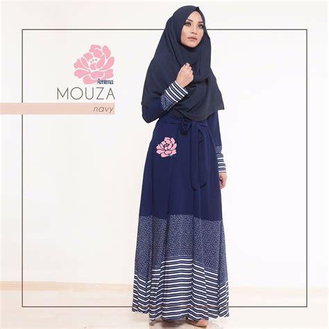 Baju Dress Wanita Navy gamis amima mouza dress navy baju muslim wanita baju