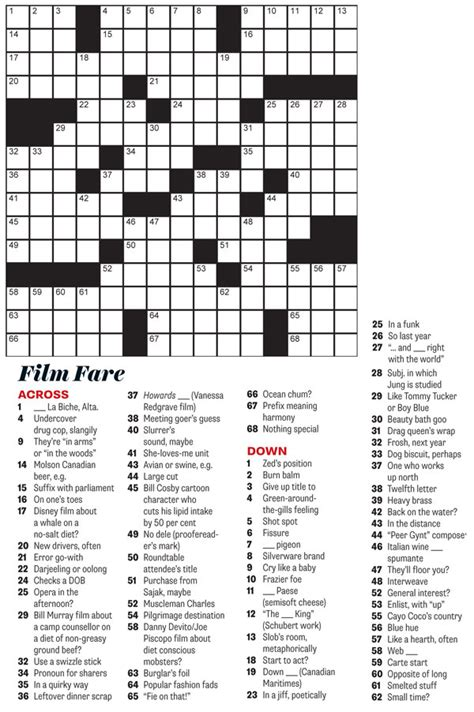 usa today crossword june 24 film fare june 2014 crossword puzzle everything zoomer