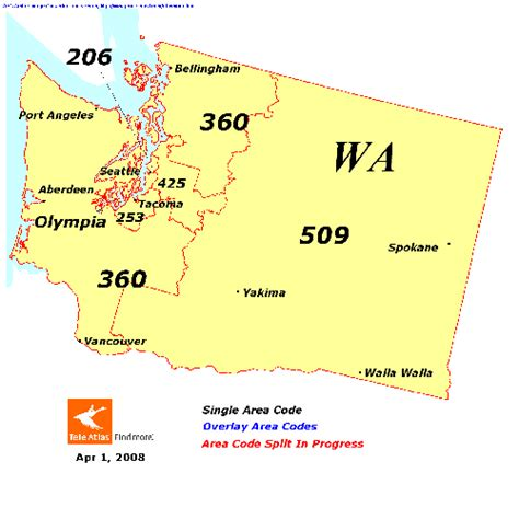 us area code map 206 washington