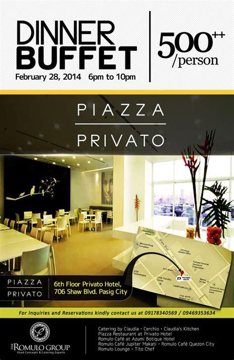 design flyer hotel privato hotel dinner buffet promo flyer romulo group