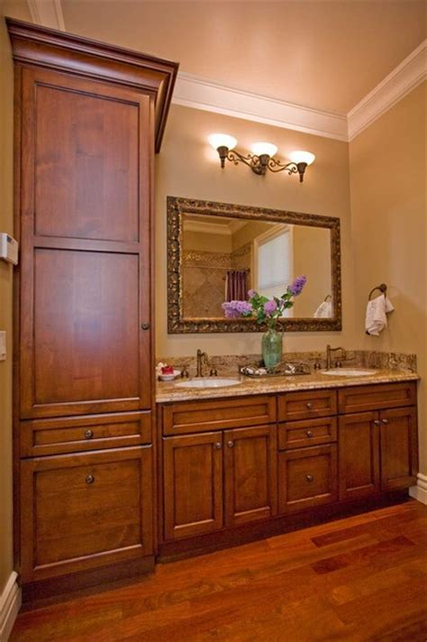 Guest bathroom with tall linen storage   Traditional