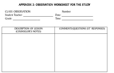 observation field notes template responding to observation how student teachers 180 use of