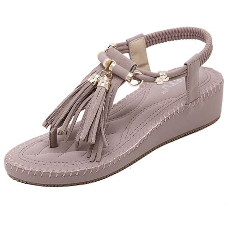 sandals with tassels siketu retro gladiator flip flop wedage sandal with tassels