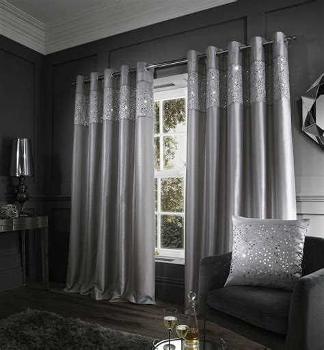grey sequin curtains catherine lansfield glitzy eyelet curtains 66 quot x 90