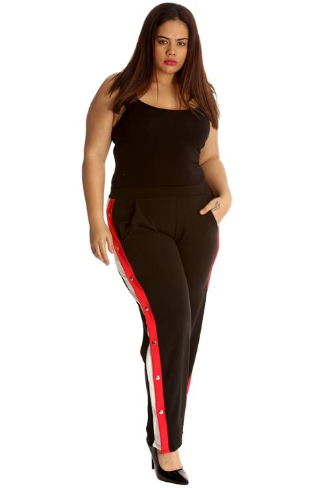 Slit New new trousers plus size womens bottoms popper button
