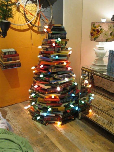 christmas tree made out of books interior design center