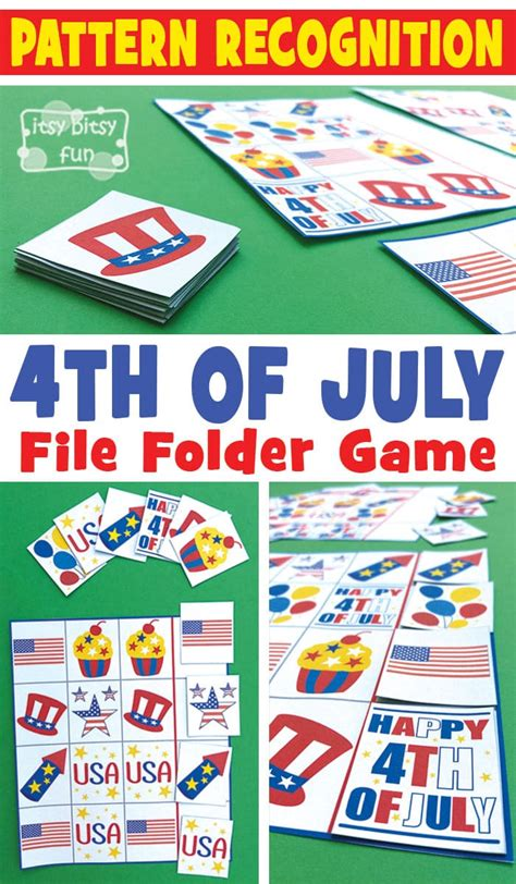 pattern recognition card game 4th of july pattern recognition file folder game itsy