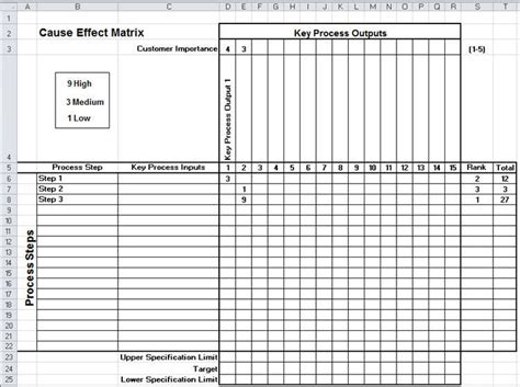 Cause Effect Analysis Cause Effect Template Excel Excel Matrix Template