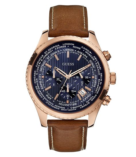 Guess Chrono Polos Leather guess 180 s international date chronograph brown leather