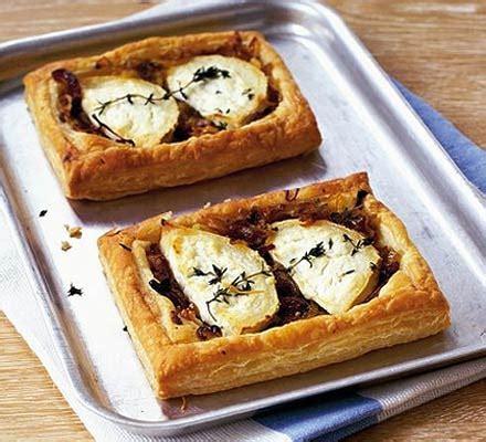 goat cheese tart onion goat s cheese tarts recipe bbc good food