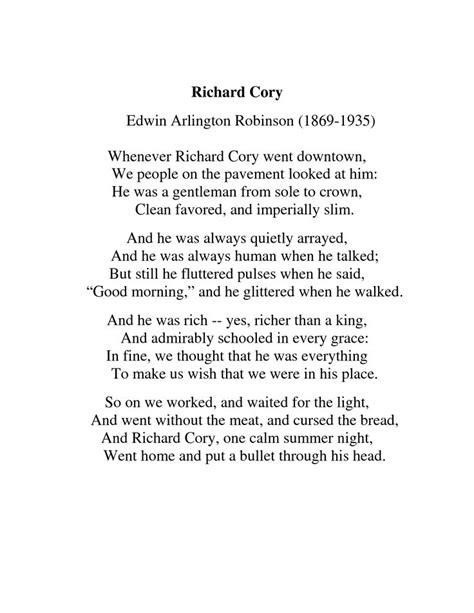 Quotes About Richard Cory Edwin Arlington Robinson. QuotesGram
