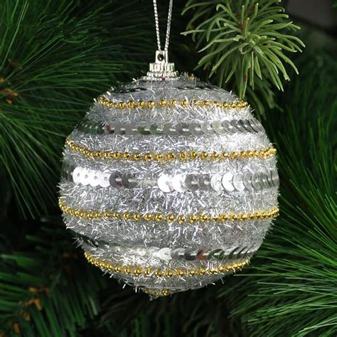 sequins decorate christmas balls 8cm luxury golden