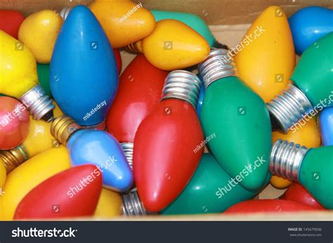 big colored lights retro or vintage style lights on white 1950 s era