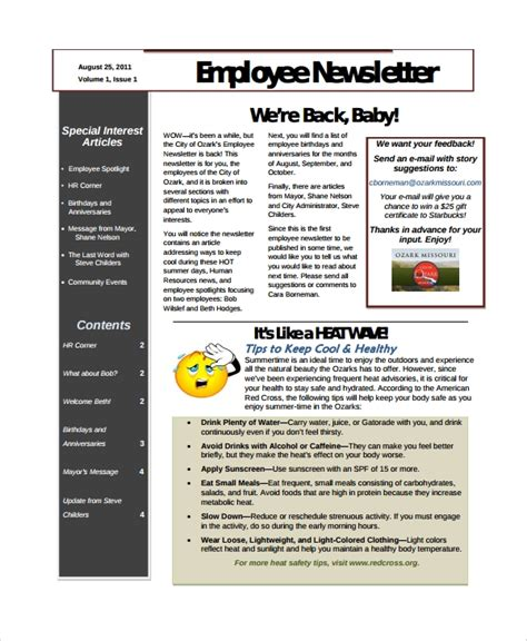 staff newsletter template sle employee newsletter template 9 free documents