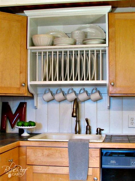upgrade cabinets by building a custom plate rack shelf