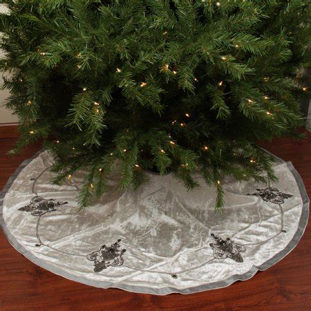 elegant christmas tree skirts 56 quot and charcoal gray beaded and sequin velveteen tree skirt walmart