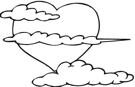 coloring pages of big hearts big heart in the clouds valentines day coloring pages