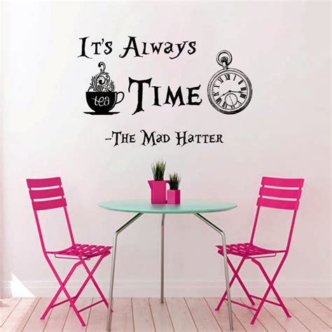 clock pattern quotes its always tea time wall sticker in