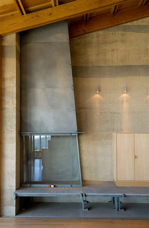Rammed Earth Fireplace by Bodega Residence Design By Cutler Architects