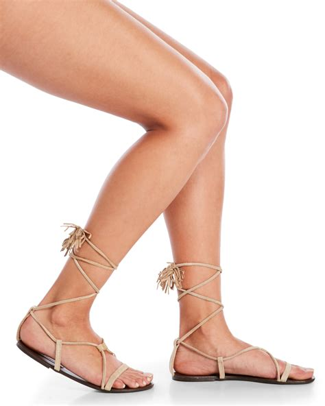 Steve Madden Farryn Sandals by Lyst Steve Madden Sand Silys Ankle Wrap Gladiator Sandals In