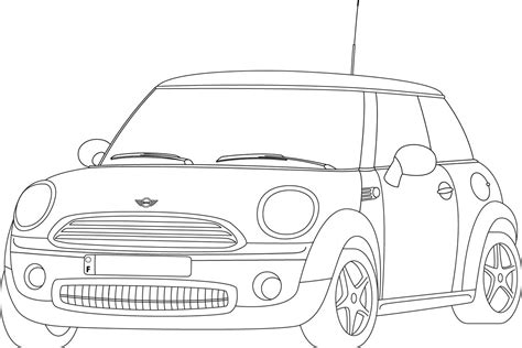 mini car coloring page mini cooper trait illustrator by wolfose on deviantart