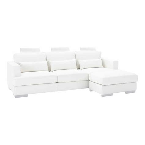 White Leather Corner Sofas White Leather Sectional Corner Sofa Orlando Orlando Maisons Du Monde