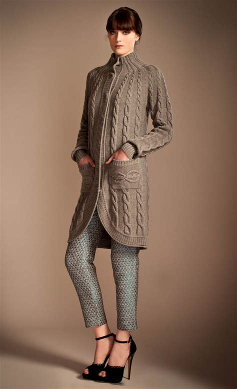 knit coat lyst temperley magdelena knitted coat in gray