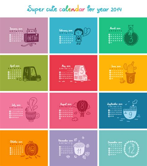 cute colors cute calendar 2014 color plaid vector free vector