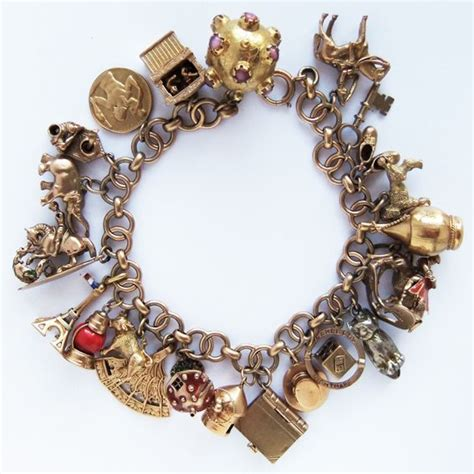 traditional charm bracelet traditional 1950s and 1960s gold charm bracelet with
