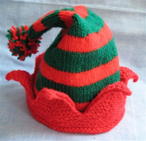 knitting pattern elf hat handmade knit striped christmas elf hat made to order