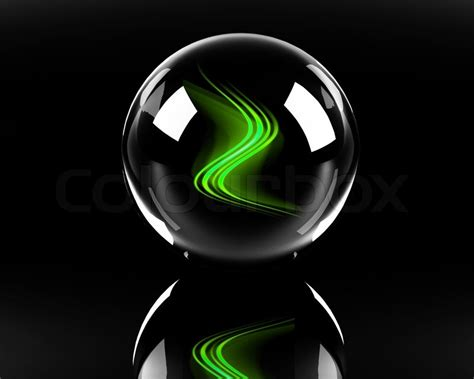 Find Home Plans by Bright Green Abstract Waves In The Glass Sphere On The