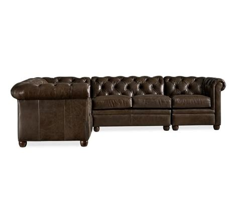chesterfield sofa sectional chesterfield leather 4 piece sectional pottery barn