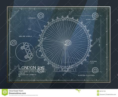 Cabin Blue Prints london eye view stock vector image 66731723