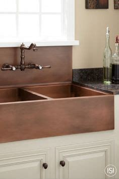 double bowl farmhouse with backsplash this rustic brown copper backsplash was made with our 10