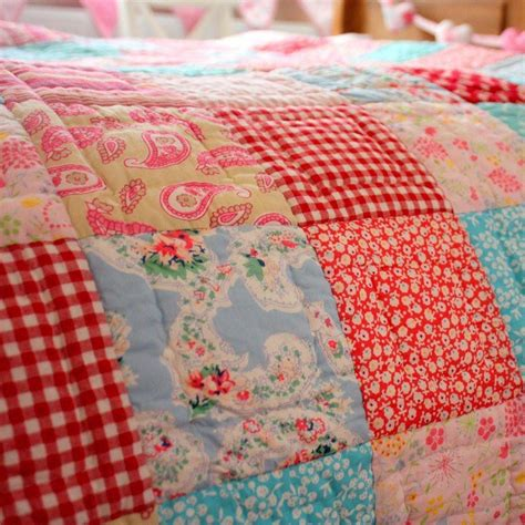 matilda pink blue patchwork quilt throw
