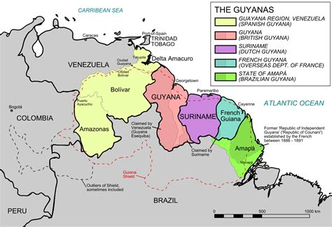 map of guiana south america the guianas simple the free encyclopedia