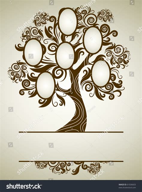 Vector Family Tree Design With Frames And Autumn Leafs Place For Text 61036603 Shutterstock At Family Tree For Your Design