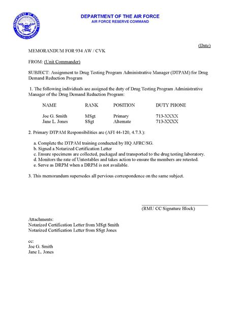 Endorsement Letter Navy 934 Aw Prevention And Education Forum Sle Appointment Letters
